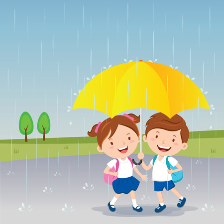 Children under the umbrella. Rainy day.