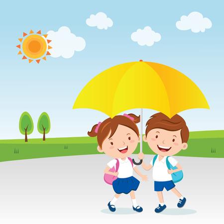 Niños bajo el paraguas, día soleado.