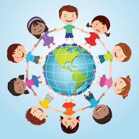 world globe: Children of the world. America globe.