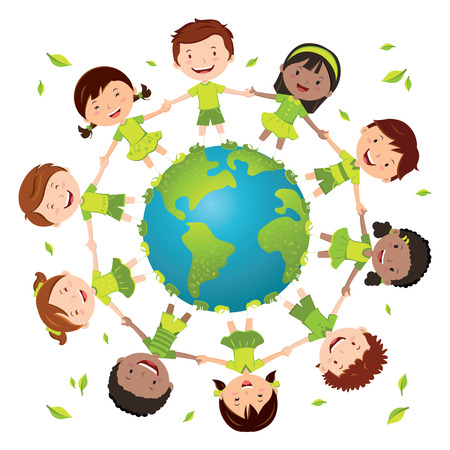 green little planet earth: Globe kids for green environment. Earth day. Recycle day! Illustration