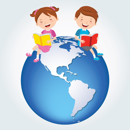 Global kids reading, America Continents.