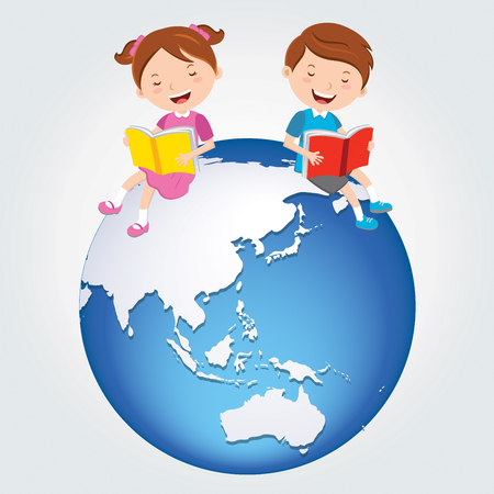 discovering: Global kids reading, Asia Continents. Illustration
