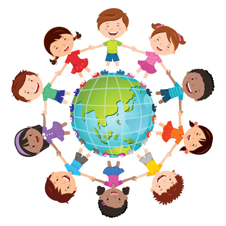 Globe kids. International friendship day. Earth day. Vector illustration of diverse Children Holding Hands.