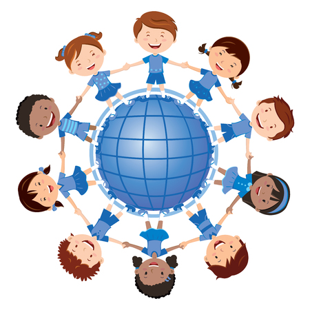 indian teenager: Happy kids and the blue planet. Vector illustration of diverse Children Holding Hands around the blue planet.