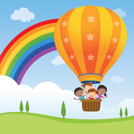 Happy kids riding hot air balloon. Vector illustration of diversity kids riding a hot air balloon.