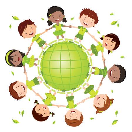 Kids for greener world. Globe kids.