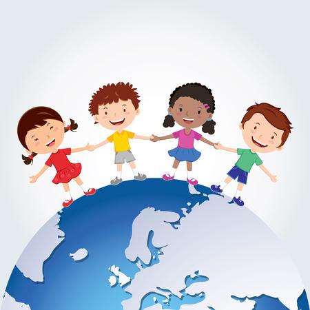global village: World kids. International friendship day! Vector illustration of diverse Children Holding Hands around the planet. Illustration