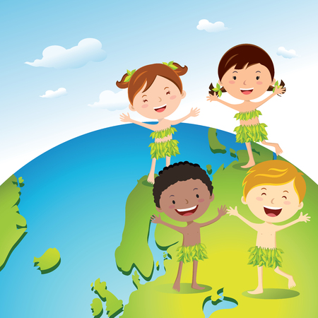 Diverse kids love our earth