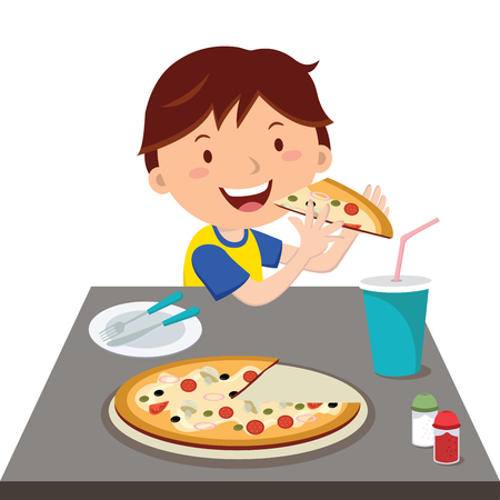 unhealthiness: Boy eating pizza Illustration