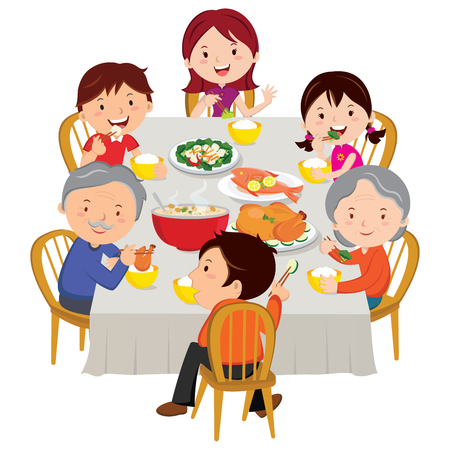 еда: Семьи, имеющие китайский новогодний ужин Иллюстрация