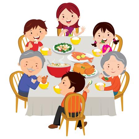 Familia que tiene la cena de Año Nuevo Chino