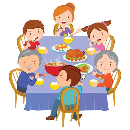 家族との夕食。幸せな拡張家族が夕食を食べています。  イラスト・ベクター素材
