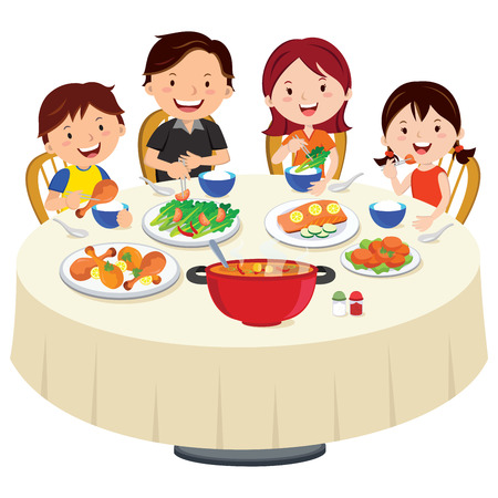 round table: Family eating dinner