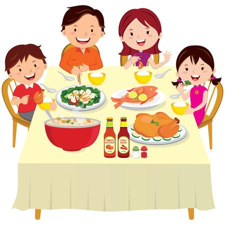 Familie te eten. Chinees Nieuwjaar diner geïsoleerd. Vector Illustratie