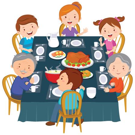 restaurant dining: Family dinner. Happy extended family having Thanksgiving dinner. Illustration