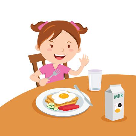 소녀는 아침 식사. 귀여운 여자 먹는 아침 식사의 벡터 일러스트 레이 션.