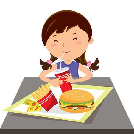 Girl eating fast food