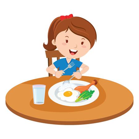 食事を食べる女の子。ベクトル ランチを食べる少女のイラスト。
