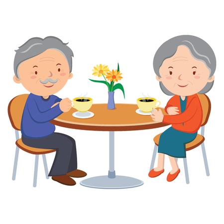 pareja de alto nivel de citas. Ilustración del vector de alegre pareja de ancianos disfrutando de un café juntos.