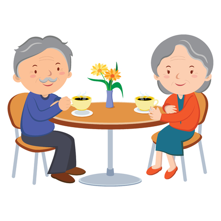 Senior couple dating. Vector illustration de joyeux vieux couple appréciant le café ensemble.