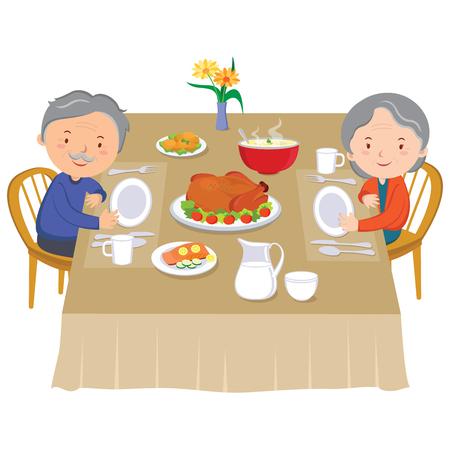 par mayor que come la cena. pareja de ancianos feliz que cena. Ilustración de vector