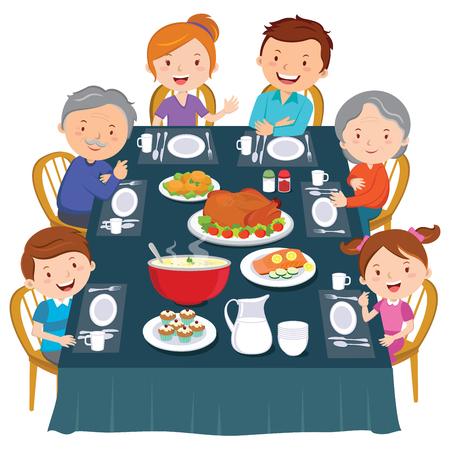 Festessen zum Erntedankfest. Familienessen. Glückliche Großfamilie beim Abendessen.
