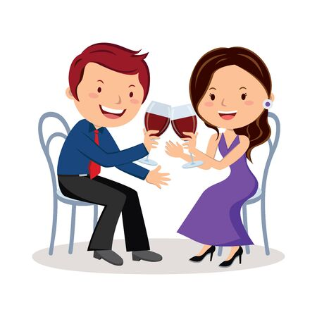 Couple toasting with red wine Illustration