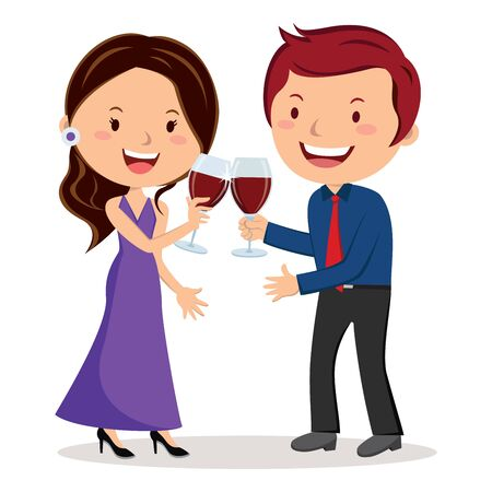 toasting wine: Lovely couple toasting with red wine Illustration