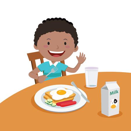Menino que come o pequeno almoço