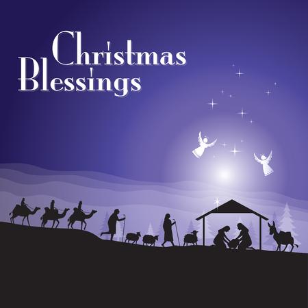 Scena del nativity di Natale Vettoriali