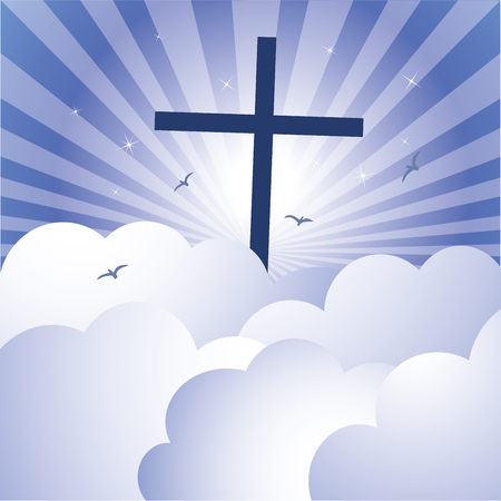 crucify: Cross and glorious sky. Vector illustration of cross Jesus Christs Resurrection with glorious sky and sparkles stars background.