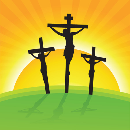 Crucifixion, Good Friday. Vector illustration of Good Friday Easter Day Crosses with Sun Rays Background. Illustration