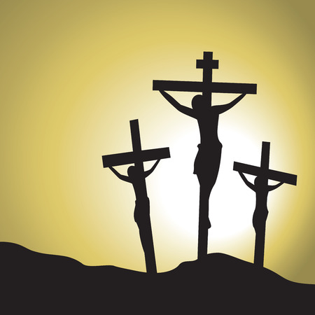crucified: Jesus Christ Crucified. Silhouette of Jesus Christs crucifixion. Illustration