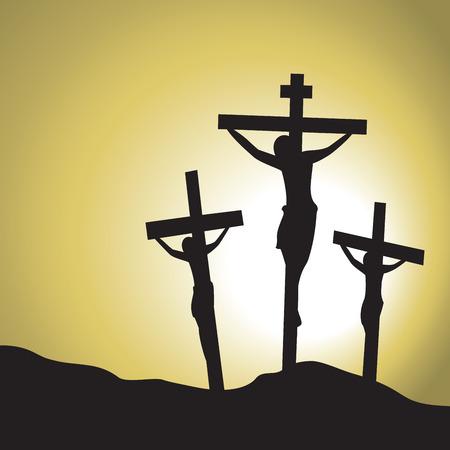 Jesus gekreuzigten Christus. Silhouette von Jesus die Kreuzigung Christi. Standard-Bild - 68225317