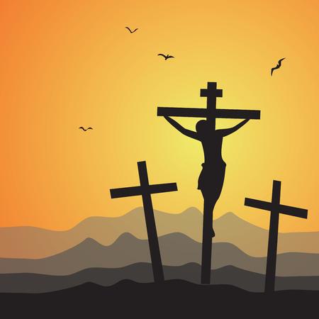 Kruisiging. Vector illustratie van de kruisiging van Jezus Christus.