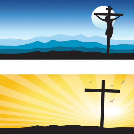 golgotha: Good Friday & Easter day background. Vector illustration of Jesus Christs crucifixion silhouette and Resurrection.