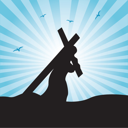 Jesus carries His cross. The road to Calvary. Crucifixion.