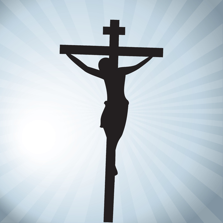 Jesus Christ crucifixion silhouette in grey background.