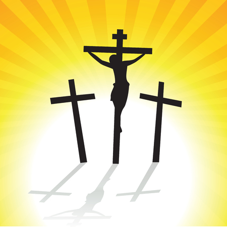 Jesus Christ Crucifixion. Vector illustration of three crosses silhouette with shadow.