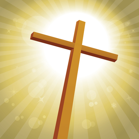 Lenten cross with gold background Illustration