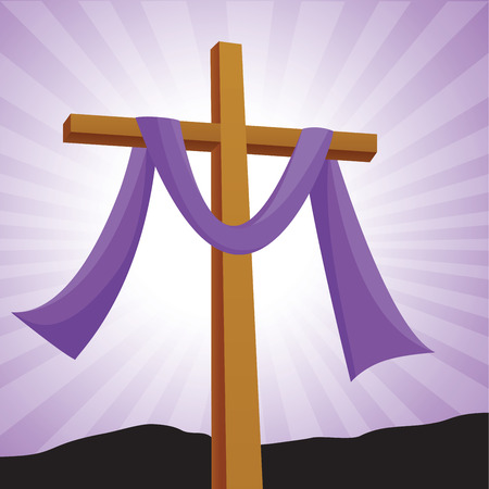 easter cross: Lenten cross with purple background Easter day.