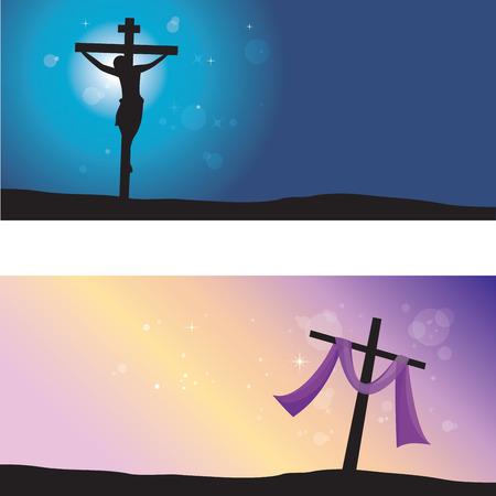 Velký pátek a velikonoční den. Vektorové ilustrace Ježíše Krista ukřižování a vzkříšení. Ilustrace