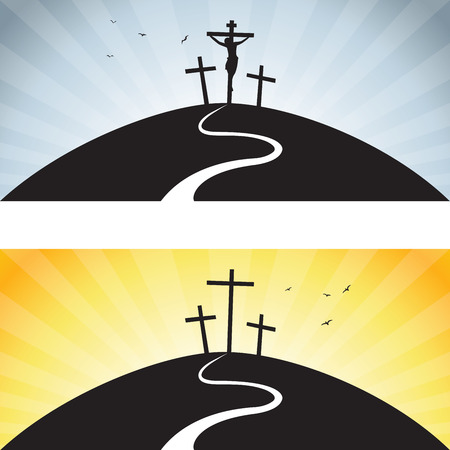 Road to Calvary. Vector illustration of Jesus Christs crucifixion and Resurrection.