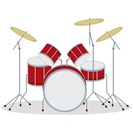 Drum set. Vector illustration of a drum kit. Vector Illustration