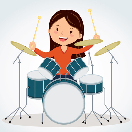 school kit: Female drummer. Vector illustration of a young woman playing drums. Illustration
