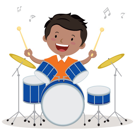 Weinig jongen het spelen trommel. Vector illustratie van een kleine jongen playing drums.