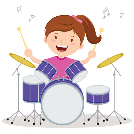 Little drummer girl. Vector illustration of a little girl playing drums.