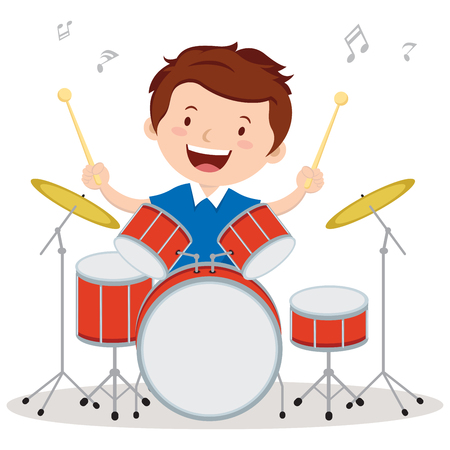 beats: Little drummer. Vector illustration of a little boy playing drums.