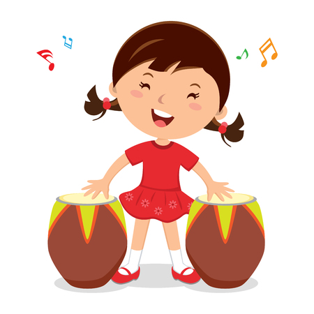 Little girl playing African drum. Vector illustration of a little girl enjoy playing African drum.