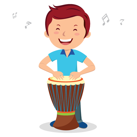 the performer: Man playing African drum. Vector illustration of a young man enjoy playing African drum.